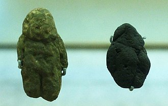 "Art of the Middle Paleolithic - ""Venus of Tan-Tan"" (left) and ""Venus of Berekhat Ram"" (replicas)"