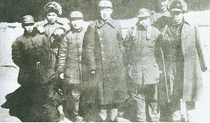 Liu Zhen (PRC) - Leaders of the 3rd Division of the New Fourth Army (from left): Peng Mingzhi, Wu Xinquan, Yang Guangchi, Liu Zhen, Wu Wenyu, Hong Xuezhi, Li Yimang
