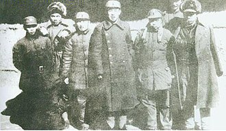 Liu Zhen (PRC) - Leaders of the 3rd Division of the New Fourth Army (from left): Peng Mingzhi, Wu Xinquan, Yang Guangchi, Liu Zhen, Wu Wenyu, Hong Xuezhi, Li Yimang