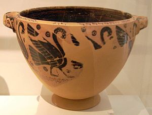 Painter of Berlin A 34 - Early black-figure skyphos-krater, front side with swans, back with spiral ornaments and swans' heads, ''circa'' 630 BC; found at the Vourvas tumulus in Attica, National Museum, Athens.