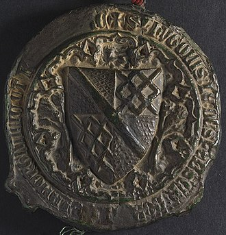 Hugh le Despencer, Baron le Despencer (1338) - Image: NLW Penrice and Margam Deeds 212 (seal 1) back (8633593163)