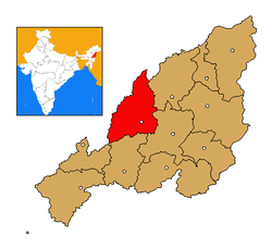 Wokha district's location in Nagaland