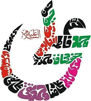 Twelver - Names of The Fourteen Infallibles (Masūmeen - Descendants Of Muhammad) written in the form of Arabic name على  'Ali'