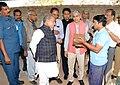 Narendra Singh Tomar inspecting the compressed stabilised Mud-block making technology, at National Institute of Rural Development & Panchayat Raj, in Hyderabad.jpg