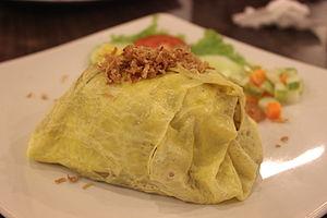 Omurice - Indonesian version of nasi goreng pattaya in Pekanbaru, Sumatra