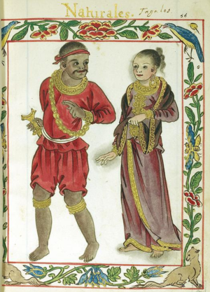 History of Philippine money - Boxer codex describes the Tagalog royal in red (the distinctive colour of his class) and his wife. adorned with gold jewelries
