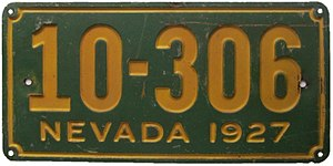 Vehicle registration plates of Nevada - Image: Nevada 1927 license plate