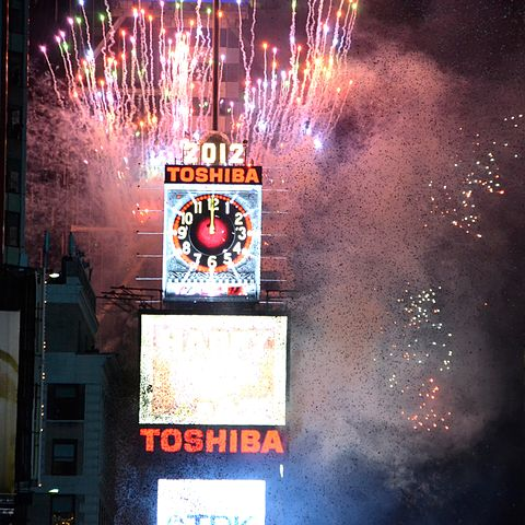 Time'ss Square by Replytojain via https://en.wikipedia.org/wiki/File:New_Year_Ball_Drop_Event_for_2012_at_Times_Square.jpg