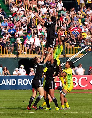 New Zealand women's national rugby sevens team - Image: New Zealand vs Australia at the 2012 Dubai Women Sevens