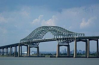 Newark Bay Bridge - The Newark Bay Bridge and the Newark skyline as seen from Richard A. Rutkowski Park in Bayonne.