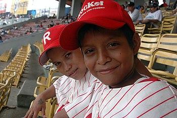 English: Baseball fans attending a Nicaraguan ...
