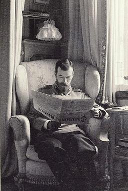 Nicholas II of Russia reading the St Petersburg News
