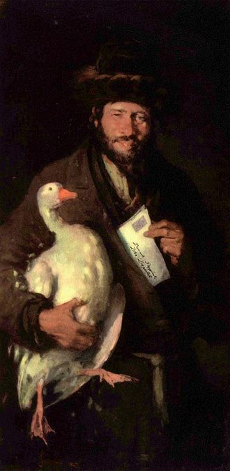 History of the Jews in Romania - Nicolae Grigorescu: Jew with Goose (c. 1880) - a Romanian Jew holding a petition and a goose for bribery.