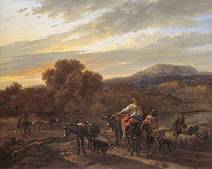 Paysage méridional avec bergers, moutons et vaches