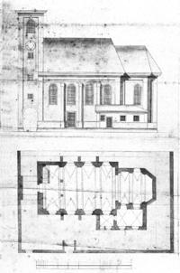 Nikolauskirche Urfahr - Ansicht und Grundriss.png