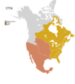 Non-Native American Nations Control over N America 1774.png