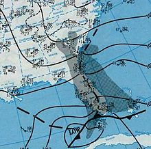 A map depicting a storm near Florida