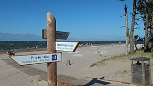 Trilingual Signposts In Latvian Livonian And English At The Coast