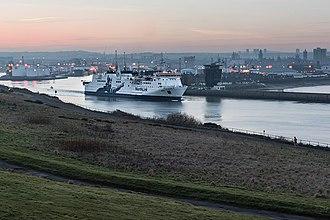 NorthLink Ferries - MV Hrossey departing Aberdeen Harbour, Scotland. Current fleet branding in use since Spring 2013.