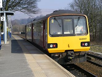 Littleborough railway station - Northern Rail 144007 leaving Platform 2 with a Manchester Victoria to Leeds service in 2009
