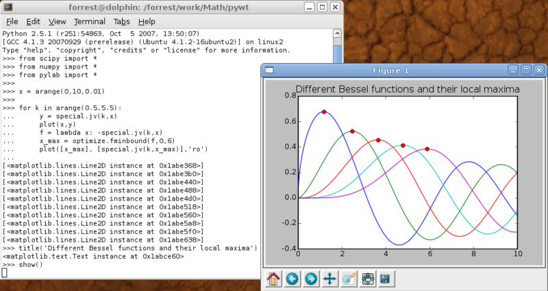 Python shell a NumPy