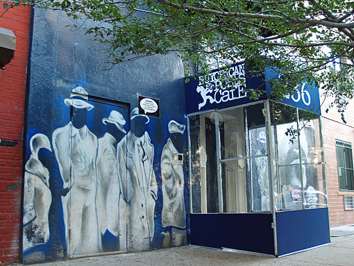 The Nuyorican Poets Cafe has been located off Avenue C and East 3rd Street since its founding in 1973 Nuyorican Poets Cafe in Loisaida section of New York City.jpg
