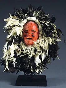 This type of elaborately feathered Nyau mask was used for the recall of spirits. It is called Nchawa. Nyau-mask.webp