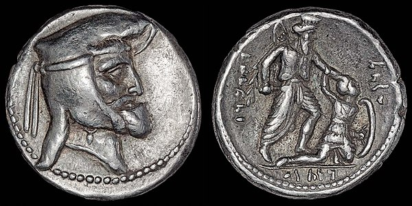 Drachm of the Frataraka ruler Vahbarz (Oborzos), thought to have initiated the independence of Persis from the Seleucid Empire. The coin shows on the reverse an Achaemenid king slaying an armoured, possibly Greek or Macedonian, soldier. This possibly refers to the events related by Polyainos (Strat. 7.40), in which Vahbarz (Oborzos) is said to have killed 3000 Seleucid settlers. Oborzos drachm.jpg