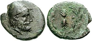 Odysseus - Head of Odysseus wearing a pileus depicted on a 3rd-century BC coin from Ithaca