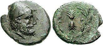 Ithaca - Head of Odysseus wearing a pileus depicted on a 3rd-century BC coin from Ithaca.