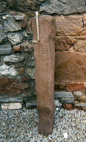 Ogham - Image: Ogham Stone Rathass Church Tralee Kerry