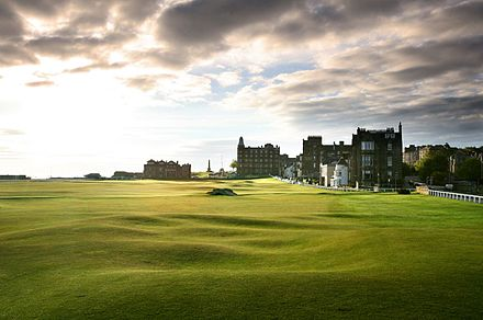 The Old Course at St Andrews where golf originates from Old 18th tee lr.jpg