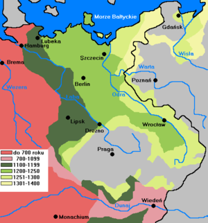 Germania Slavica - Stages of German eastern settlement, 700-1400, with borders of the Holy Roman Empire (as of 1348) outlined