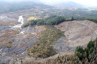 2014 Oso mudslide - Aerial view of slide ridge