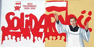 Solidarity (Polish trade union) - 30-years of Solidarity mural in Ostrowiec Świętokrzyski (priest Jerzy Popiełuszko in foreground)