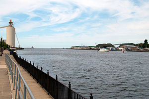 Oswego, New York - Oswego River flowing into Lake Ontario