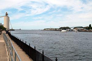 Oswego, New York - Oswego River flowing into Lake Ontario