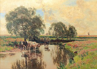 Cows on a shady stream bank