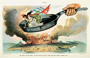 Out of the frying pan into the fire - A cartoon from Puck by Louis Dalrymple urging American intervention in Cuba in 1898
