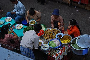 Burmese cuisine - An outdoor cafe in Yangon