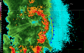 Outflow (meteorology) - Outflow boundary as seen on radar reflectivity. The leading edge of the outflow is also a gust front in this particular case, depicted by the cold front symbol