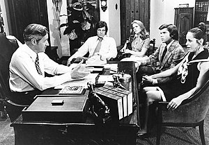 Owen Marshall: Counselor at Law - Marshall (Arthur Hill) with clients.  From left: Michael Witney, Sharon Gless, John Davidson, Louise Sorel, 1972.