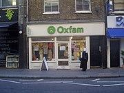 Oxfam shop on Drury Lane in Covent Garden, London.
