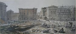 Left to Right: Montagu House, Townley Gallery and Sir Robert Smirke's west wing under construction (July 1828)