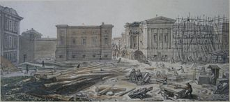 Left to Right: Montagu House, Townley Gallery and Sir Robert Smirke's west wing under construction, July 1828 P8282318.1.JPG