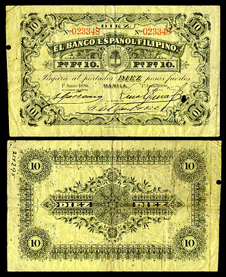 Philippine peso - Early issue 1896 10-peso note from El Banco Español Filipino, (1896).