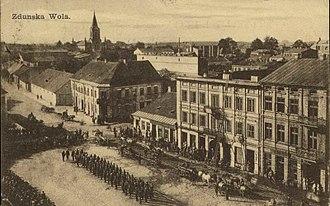 Zduńska Wola - Early 20th-century postcard with the downtown of Zduńska Wola