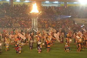 National Sports Week (Indonesia) - The Dayak dance in Pekan Olahraga Nasional XVII East Kalimantan 2008 opening ceremony in Palaran Stadium, Samarinda.