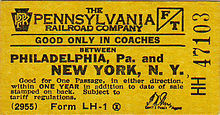 Yellow PRR Philadelphia to New York coach ticket circa 1955