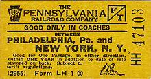 Billet d'autocar jaune PRR Philadelphie à New York vers 1955